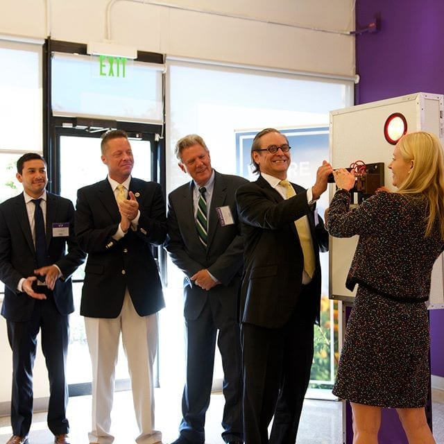Gillian and Kim Bleimann switching on the representative switch for the new solar panel launch with (left to right) Zach McCue, projects director for U.S. Sen. Cory Booker; Carteret Mayor Daniel Reiman; and Congressman Frank Pallone. #berjeinhouse