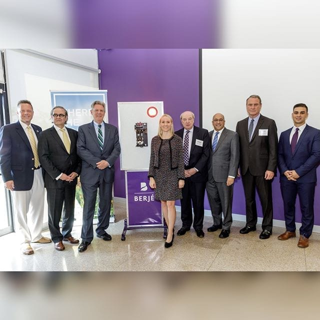 Solar Ribbon Cutting Ceremony: L to R- Mayor Reiman, CEO Kim Bleimann, Congressman Pallone, VP Gillian Bleimann, President Dave Herbst, CFO Brian Hart, Sr. VP. Frank Mara, Marketing Manager Tom Lauzurica #berjeinhouse